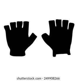 Fingerless black sport gloves vector icon isolated, winter gloves, fashion