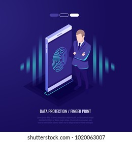 Fingerprint access password, man with mobile phone, fingerprint on smartphone screen, personal data guard isometric vector illustration ultraviolet background