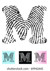 Fingerprint Alphabet Letter M (Highly detailed Letter - transparent so can be overlaid onto other graphics)