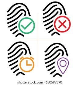 Fingerprint Attendance Icon Set