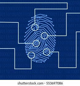 Fingerprint for biometric identification on high-tech background in blue colors. Stock vector concept for forensic science as well as computer authentication.