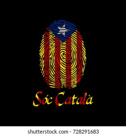 Fingerprint with Catalonia flag and text I am Catalan in the Catalan language. Template for printing on t-shirts and other products. The background color is easy to change. Vector illustration.