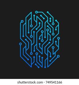 Fingerprint CHIP design Logo template. Digital Electronic Security Authentication concept.