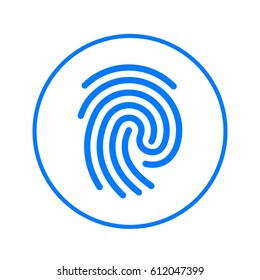 Fingerprint circular line icon. Round colorful sign. Flat style vector symbol