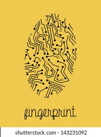 fingerprint design over yellow background vector illustration