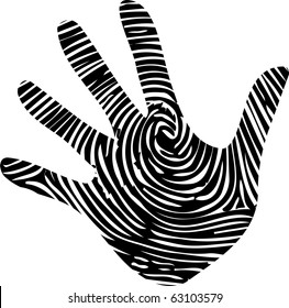 Fingerprint details in hand print illustration vector
