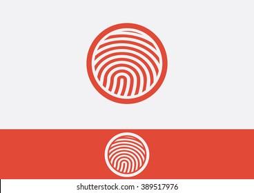 Fingerprint emblem flat logo vector