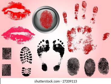 Fingerprint Footprints and Lips - Very accurately scanned and traced ( Vectors are transparent so it can be overlaid on other images, vectors etc.)