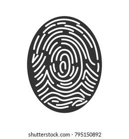 Fingerprint glyph icon. Silhouette symbol. Finger identification. Negative space. Vector isolated illustration