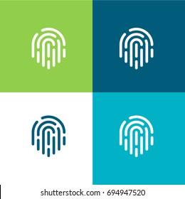 Fingerprint green and blue material color minimal icon or logo design