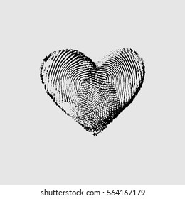 Fingerprint Heart Black IV - vector isolated love symbol for save the date, marriage and wedding invitation