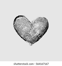 Fingerprint Heart Black V - vector isolated love symbol for save the date, marriage and wedding invitation
