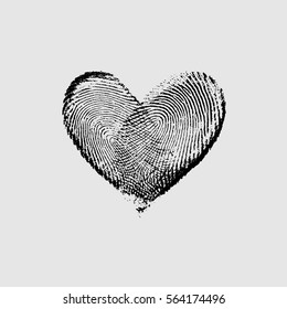 Fingerprint Heart Black I - vector isolated love symbol for save the date, marriage and wedding invitation