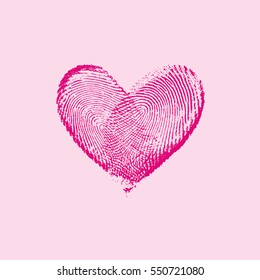 Fingerprint Heart Pink I - vector isolated love symbol for save the date, marriage and wedding invitation
