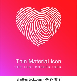 Fingerprint heart shape red and pink gradient material white icon minimal design