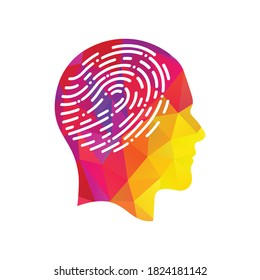 Fingerprint in human head icon. Symbol of self identity. Head with fingerprint in place of the brain