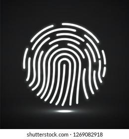 Fingerprint icon, biometric identification symbol, id logo. Vector