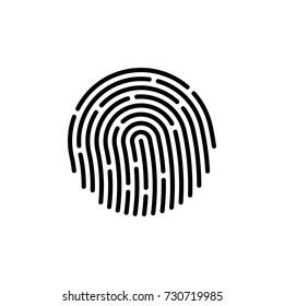 Fingerprint icon, black isolated on white background