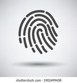 Fingerprint Icon. Dark Gray on Gray Background With Round Shadow. Vector Illustration.