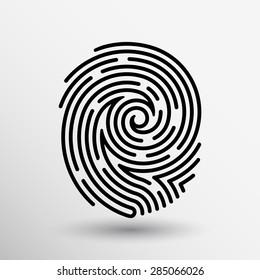 Fingerprint icon finger print vector id theft macro stamp.