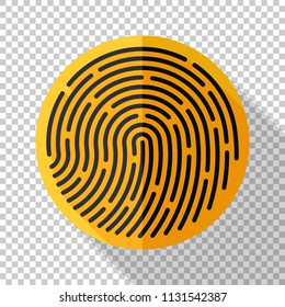 Fingerprint icon in flat style with long shadow on transparent background
