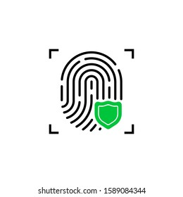 fingerprint icon with green shield. flat outline inform verification logotype graphic art design isolated on white background. concept of scanner for recognition or file protection or crime defense