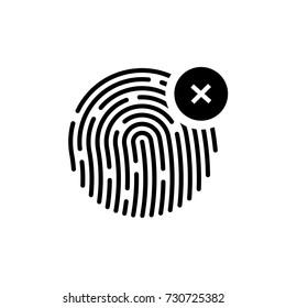 Fingerprint icon, identification failed, black isolated on white background