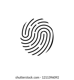 Fingerprint icon. Identification symbol. Vector illustration, flat design.