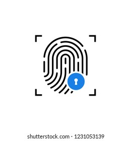 fingerprint icon like security access. concept of mobile identify person and individual authorization. flat linear trend modern barcode logotype graphic art simple design element on white background