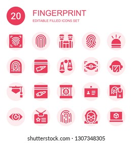 fingerprint icon set. Collection of 20 filled fingerprint icons included Fingerprint scan, Jail, Hooter, Evidence, Judging, Eye scan, Police, Judge, ID, Identity