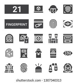 fingerprint icon set. Collection of 21 filled fingerprint icons included Judge, Judging, Hooter, Fingerprint, Police, Eye scan, scan, Jail, Evidence, d printing software