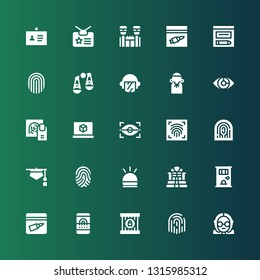 fingerprint icon set. Collection of 25 filled fingerprint icons included Judge, Fingerprint, Jail, scan, Evidence, Police, Hooter, Eye scan, d printing software, Judging