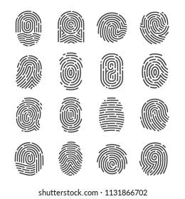 Fingerprint icon set. Impression, mark used for identifying individuals, unique pattern of lines for biometric identification in criminal investigation. Vector illustration human fingerprint.