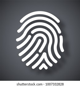Fingerprint icon. Simple vector illustration on a dark gray background
