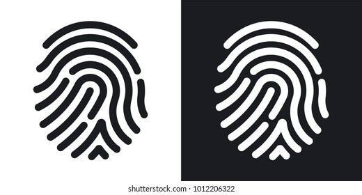 Fingerprint icon. Simple vector illustration on black and white background