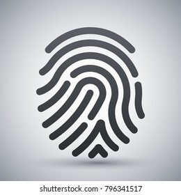 Fingerprint icon. Simple vector illustration on a light gray background