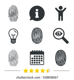 Fingerprint icons. Identification or authentication symbols. Biometric human dabs signs. Information, light bulb and calendar icons. Investigate magnifier. Vector
