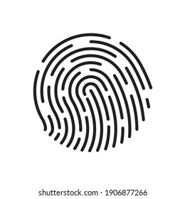 Fingerprint icons. Thumb finger logo. Unique touch id. Personal id identity. Biometric password human. Press finger, scan for safety. Individual fingertip is verification in police. Vector.