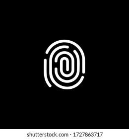 Fingerprint identification app scanner logo. White thumbprint verification, biometric identity system logotype. Electronic security service vector illustration. FBI, police evidence data icon.
