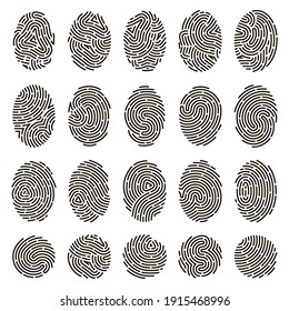 Fingerprint identification. Biometric human fingerprints, unique thumb lines imprint. Security fingerprint authentication vector illustration set. Fingerprint imprint pattern collection
