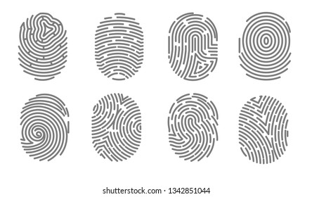 Fingerprint isolated icons security access authorization system vector biometric technology for person identity identification system human biological data decoding uniqueness electronic signature