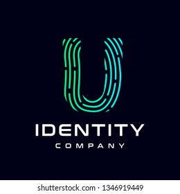 Fingerprint letter U vector template logo. Design with gradient and technology. This graphic  is suitable for identification, security, protection and business.