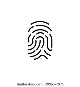 Fingerprint line icon in black. Logo isolated simple sign symbol. Illustration high quality flat style. Trendy minimalistic for app, graphic design, infographic, web site, ui, ux. Vector EPS 10.