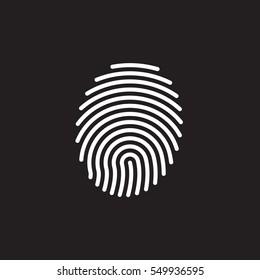 Fingerprint line icon, vector sign, linear white pictogram isolated on black. Symbol, logo illustration