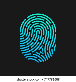 Fingerprint linear design Logo template. Digital Security Authentication concept.