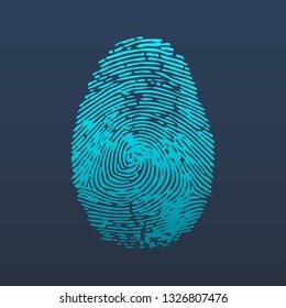 Fingerprint logo. ID app icon. Identification of person. Template design for web or mobile app. Vector illustration