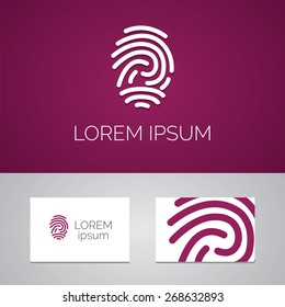 fingerprint logo template icon design elements with business card