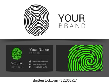 fingerprint logo template icon design elements with business card.