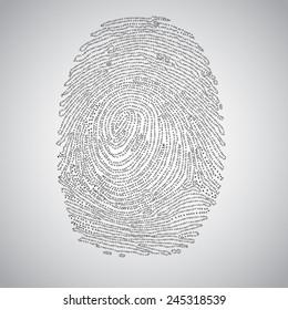 Fingerprint made by binary code, vector