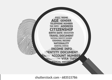 Fingerprint and magnifying glass above, man's silhouette with personal information inside. Fingerprint as source of data about person